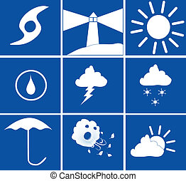 Blue and White weather icons