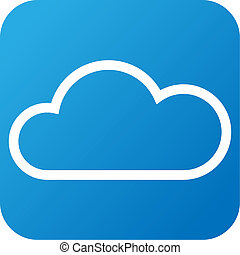 Weather web icon with cloud - Blue and white Weather web ...
