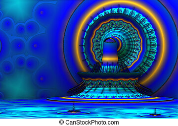 Blue and yellow 3d fractal