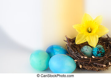 Blue and Yellow Easter Decoration
