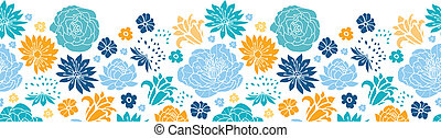 Blue and yellow flower silhouettes horizontal seamless pattern background