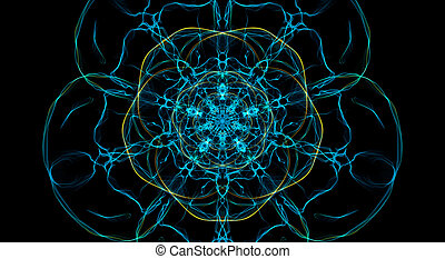 Blue and yellow fractal flower on black background