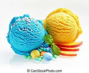 Blue and yellow ice cream