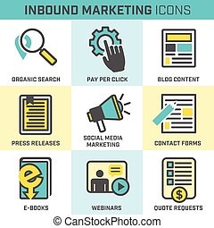 Blue and Yellow Inbound Marketing Vector Icons with organic search, ppc, blog content, press release, social media marketing, contact form, ebook, video, webinar, and quote request