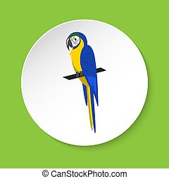 Blue and yellow macaw parrot icon in flat style