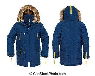 blue and yellow men's sports jacket with fur on isolated white.