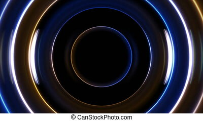 Blue and yellow neon circles abstract futuristic motion background