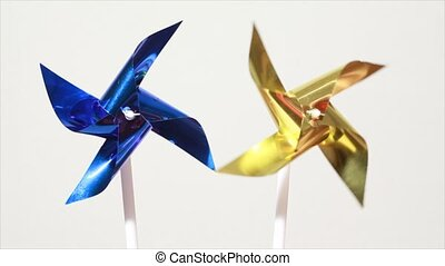 propeller spins under influence of air flow - Blue and...