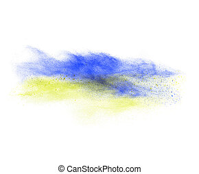 Blue and yellow powder explosion isolated on white background