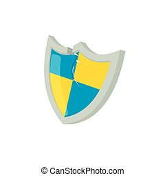 Blue and yellow protection shield icon