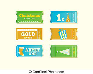 Blue and yellow retro cinema christmas tickets