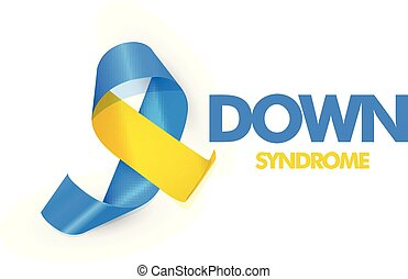 Blue and yellow ribbon with text for world down syndrome day vector illustration.