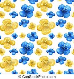 Blue and yellow seamless pattern