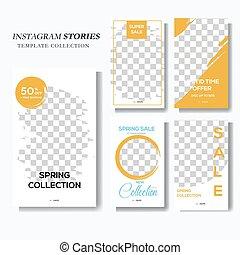 Blue and yellow social media story marketing