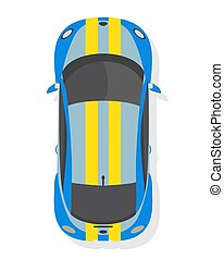 Blue and yellow sport car, top view in flat style isolated on a white background