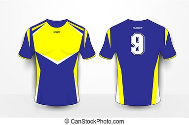 77a3895a5 Yellow red blue color football t-shirt mock up. Soccer jersey or ...