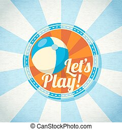 Blue and yellow striped beach ball. Vector illustration
