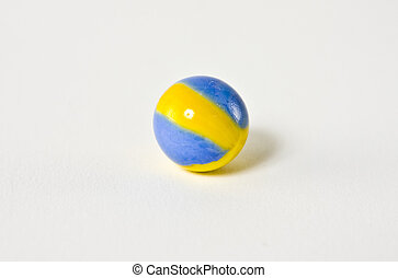 Blue and yellow swirl marble - A blue and yellow swirled...