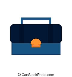 blue and yellow toolbox , Vector illustration over white background