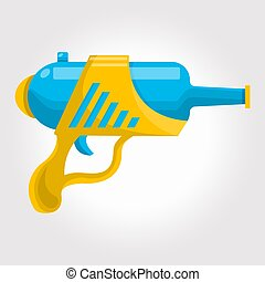Blue and yellow toy cosmic water gun on a white background.