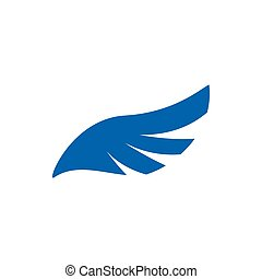 Blue angel wing icon, simple style