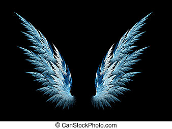 Blue angel wings made with fractal design