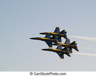 Blue Angels squadron air-show tight formation flying