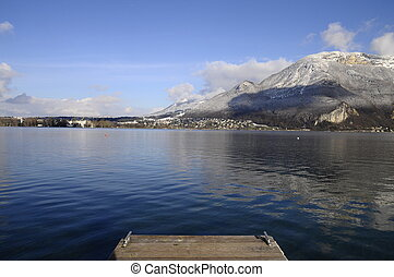 Blue Annecy lake on winter