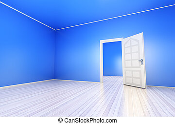Blue Apartment - A empty blue apartment with a open door. 3D...