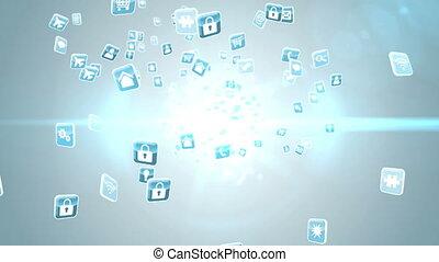 Blue app icon tiles on light - Digital animation of Blue app...