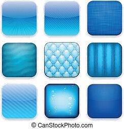 Blue app icons.