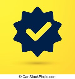 Blue Approved or certified medal with ribbons and check mark icon isolated on yellow background. Vector Illustration