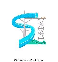 Blue aquapark water slide icon. Outdoor family beach...