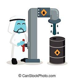 Blue arabian businessman refill his oil barrel