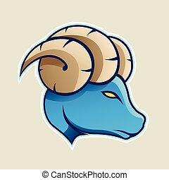 Blue Aries or Ram Cartoon Icon Vector Illustration