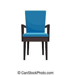 Blue armchair, comfortable furniture, element for home interior vector Illustration on a white background