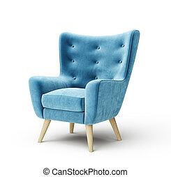 armchair - blue armchair isolated on a white. 3d ...