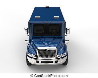 Blue armored transport truck - top down front view