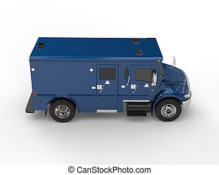 Blue armored transport truck - top down side view