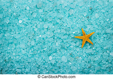 aromatic bath salt and starfish background - blue aromatic...