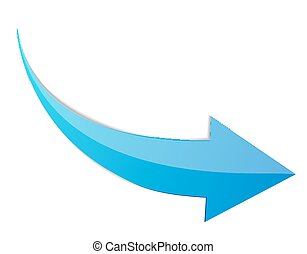 Blue Arrow 3d  Sign Icon. Vector illustration Isolated on White Background