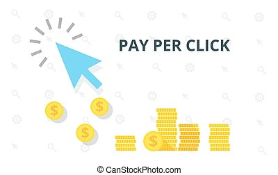 Blue arrow and many coins. Pay per click marketing, advertising concept. PPC flat online internet web vector illustration.