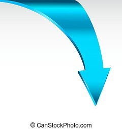 Blue arrow sign and neutral white background