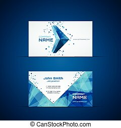 Blue arrow business card template