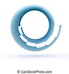 Blue arrow circles