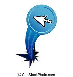 blue arrow cursor with hole icon