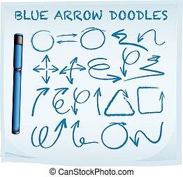 Blue arrow doodles on blue paper
