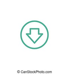 blue arrow down in circle. line icon. Download sign.