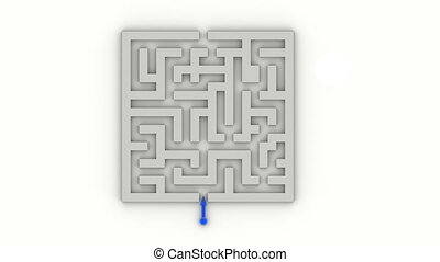 Blue arrow going through the labyrinth, Full HD, computer generated