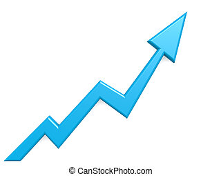 Blue arrow graph growth up background